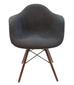 Replica Eames DAW Eiffel Chair | Grey / Charcoal Fabric Seat | Walnut Legs