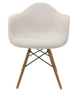 Replica Eames DAW Eiffel Chair | Ivory Fabric Seat | Natural Wood Legs