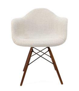 Replica Eames DAW Eiffel Chair | Ivory Fabric Seat | Walnut Legs