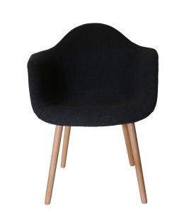 Replica Eames DAW Hal Inspired Chair | Grey / Charcoal Fabric Seat | Natural Beech Legs
