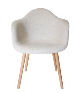 Replica Eames DAW Hal Inspired Chair | Ivory Fabric Seat | Natural Beech Legs