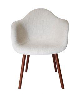 Replica Eames DAW Hal Inspired Chair | Ivory Fabric Seat | Walnut Legs