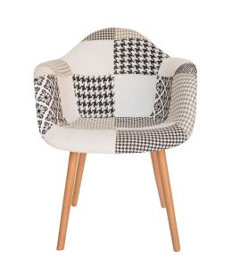 Replica Eames DAW Hal Inspired Chair   Multicoloured Patches V3 Fabric Seat   Natural Beech Legs