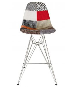 Replica Eames DSR Bar / Kitchen Stool | Multicoloured Patches Seat | Chrome Legs