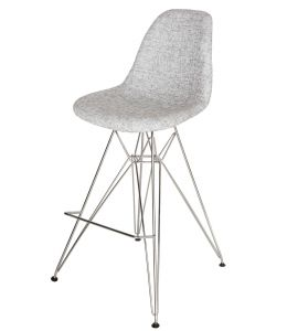 Replica Eames DSR Bar / Kitchen Stool | Fabric Seat | Chrome Legs