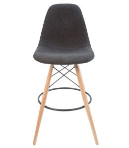 Replica Eames DSW Bar / Kitchen Stool | Grey / Charcoal Fabric Seat | Natural Wood Legs