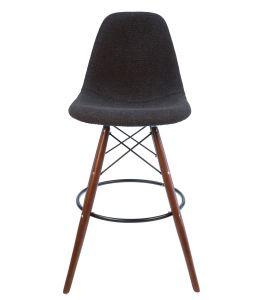 Replica Eames DSW Bar / Kitchen Stool | Grey / Charcoal Fabric Seat | Walnut Legs