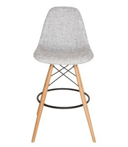 Replica Eames DSW Bar / Kitchen Stool | Textured Light Grey Fabric Seat | Natural Wood Legs