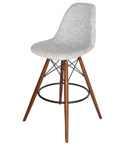 Replica Eames DSW Bar / Kitchen Stool | Fabric Seat | Walnut Legs