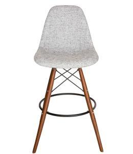 Replica Eames DSW Bar / Kitchen Stool | Textured Light Grey Fabric Seat | Walnut Legs
