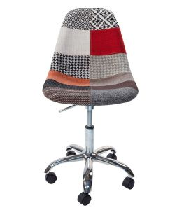 Replica Eames DSW / DSR Desk Chair | Multicoloured Patches Fabric Seat