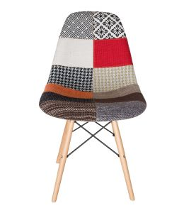 Replica Eames DSW Eiffel Chair | Multicoloured Patches Seat | Natural Wood Legs
