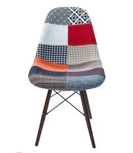 Replica Eames DSW Eiffel Chair   Multicoloured Patches Seat   Walnut Legs