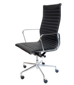 Replica Eames High Back Ribbed Leather Executive Office Chair