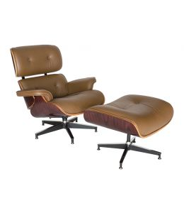Replica Eames Lounge Chair | 4 Star Ottoman | Brown