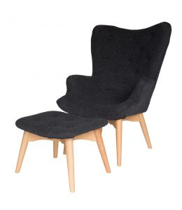Replica Grant Featherston Contour Lounge Chair & Ottoman | Grey / Charcoal Fabric | Natural Legs