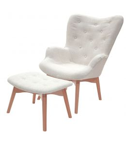 Replica Grant Featherston Contour Lounge Chair & Ottoman | Ivory Fabric | Natural Legs