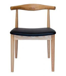 Replica Hans Wegner Elbow Chair CH20 | Black PU Seat & Natural Wood Frame