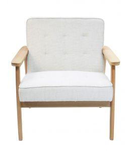 Replica Hans Wegner Plank Arm Chair   Ivory Fabric & Natural Beech Frame