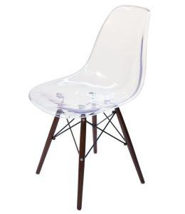 Replica Eames DSW Eiffel Chair - Clear Transparent & Walnut Legs