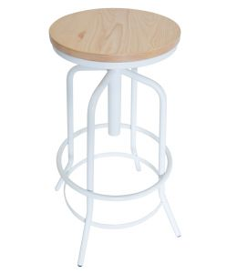 Vega Industrial Stool | Natural Wood Seat | White