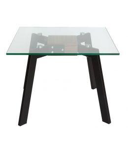Vox Collection | Glass Side Table | Matte Black & Walnut
