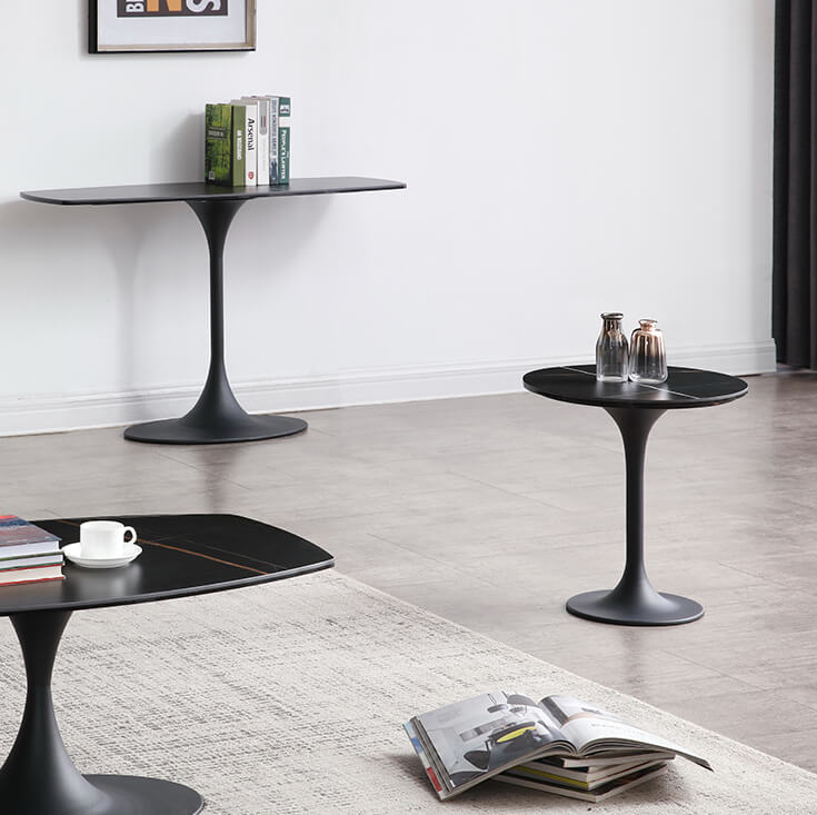 Barton Round Glass-Ceramic Side Table