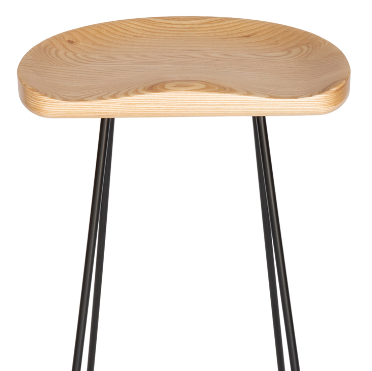 Berny Industrial Stool | Black & Natural | 66cm