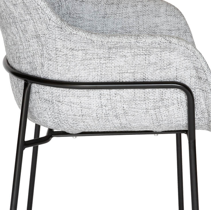 Curved Fabric Dining Chair | Textured Light Grey