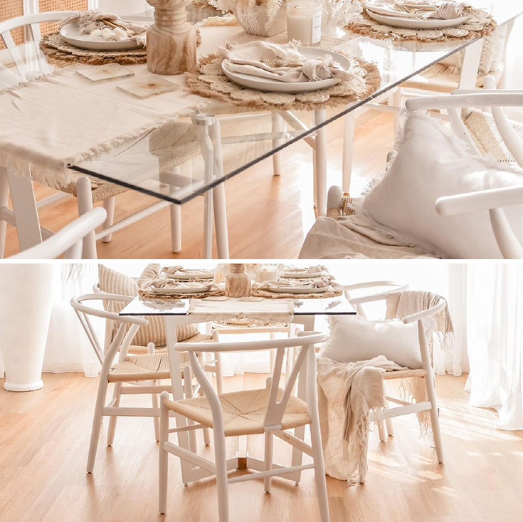 Delta Collection | Rectangular Glass Dining Table | 180cm