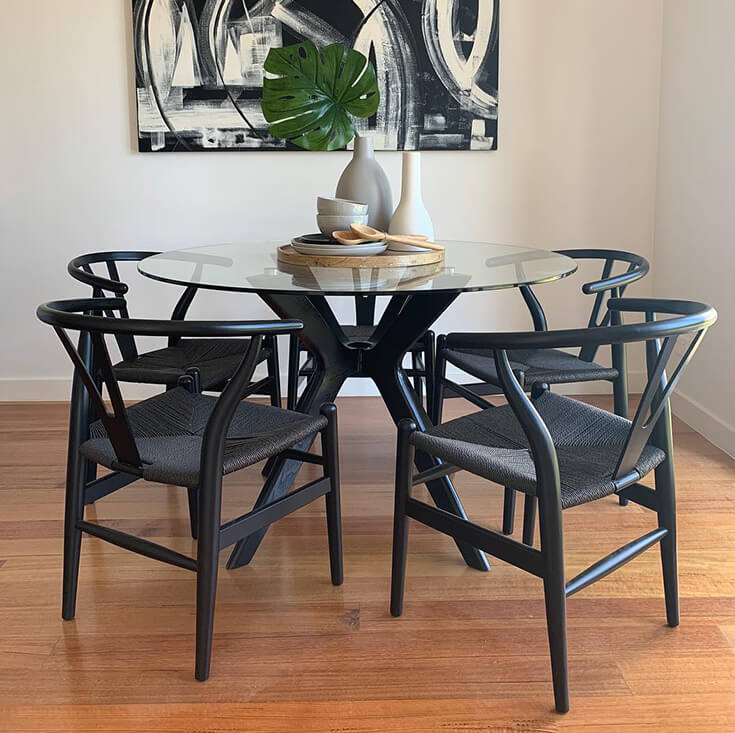 Doreen Collection | Round Glass Dining Table | 120cm