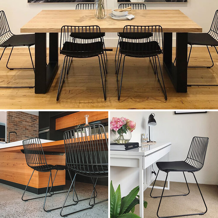 Lory Bend Wire Chair | Black