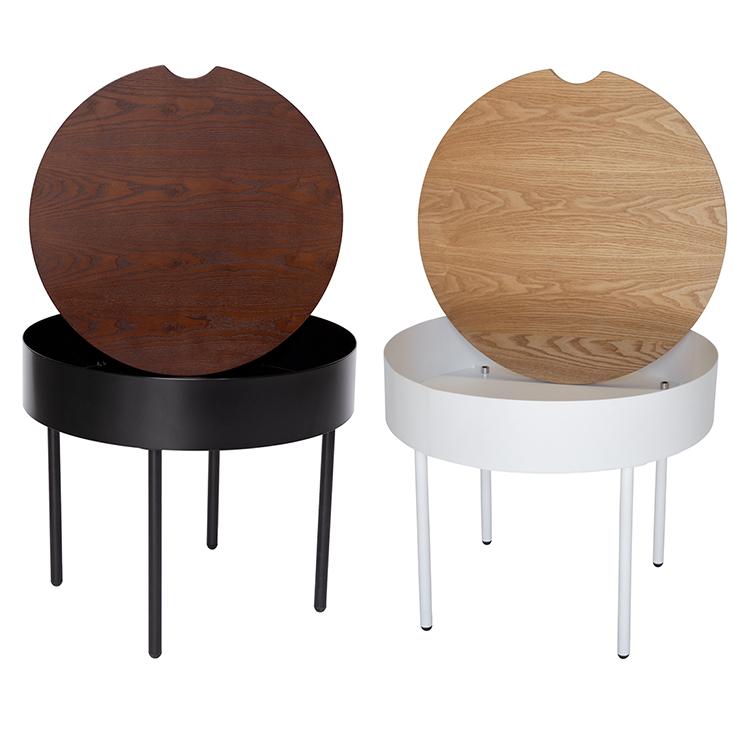 Lunar Round Wood Side Table | Black & Walnut
