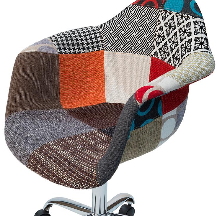 Replica Eames DAW / DAR Desk Chair | Multicoloured Patches V3 Fabric Seat