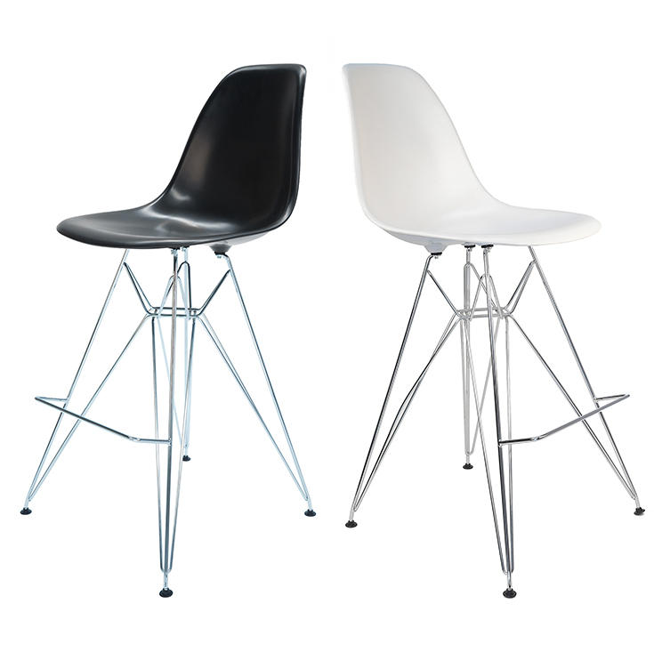 Replica Eames DSR Bar / Kitchen Stool | Plastic Seat | Chrome Legs