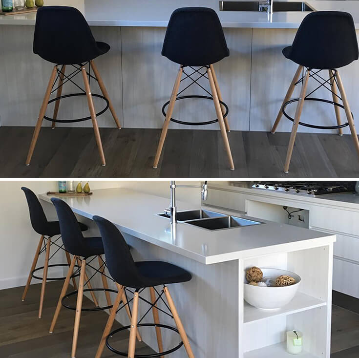 Replica Eames DSW Bar / Kitchen Stool | Fabric Seat | Natural Wood Legs