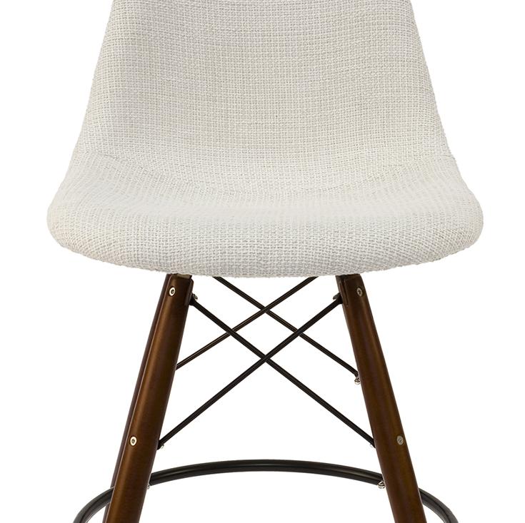 Replica Eames DSW Bar / Kitchen Stool | Fabric Seat | Walnut Legs