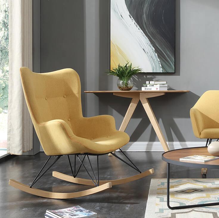 Replica Grant Featherston Rocking Chair | Light Grey Fabric