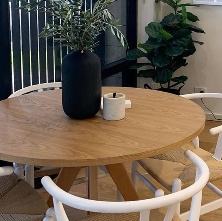 Replica Jean Prouve Inspired Round Wood Dining Table | Walnut | 100cm