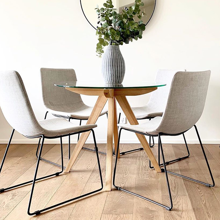 Amber Collection | Round Glass Dining Table | Walnut | 90cm