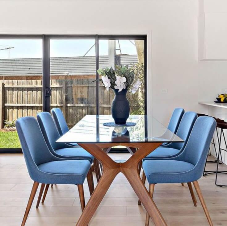 Dakota Dining Chair | Blue Fabric | Walnut Legs