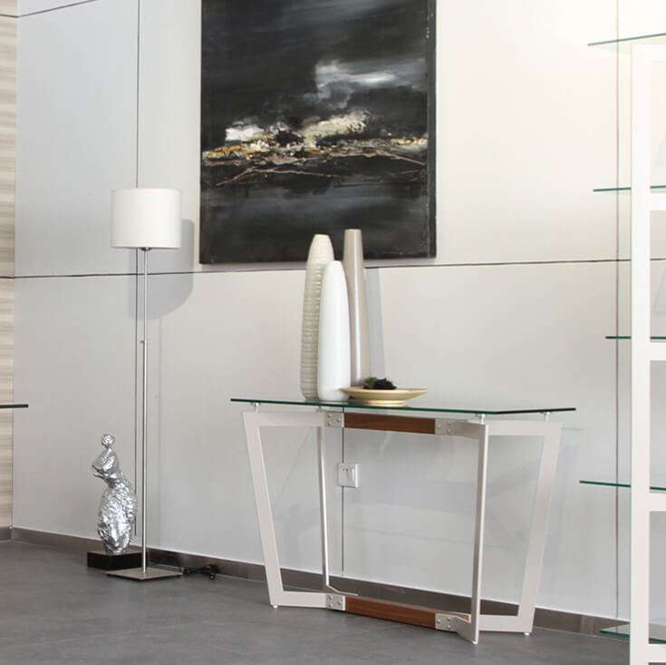 Delta Collection | Rectangular Glass Console Table