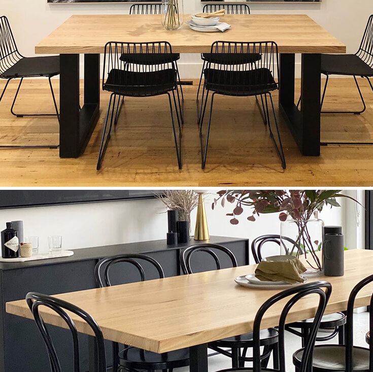 Global Rectangular Wood Dining Table | Matte Black & Walnut | 200cm