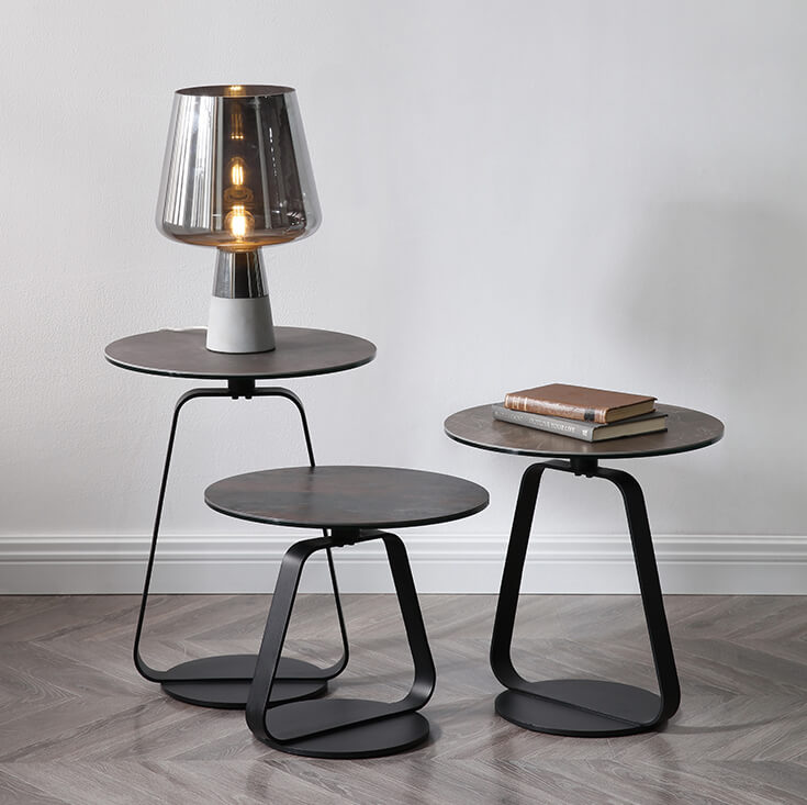 Misty Round Glass-Ceramic Side Table