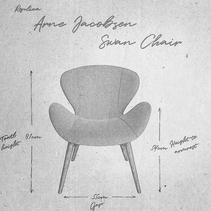 Replica Arne Jacobsen Swan Chair   Walnut Legs
