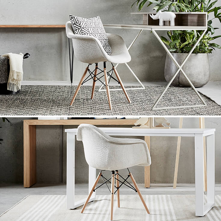 Replica Eames DAW Eiffel Chair | Multicoloured Patches V3 Fabric Seat | Natural Wood Legs