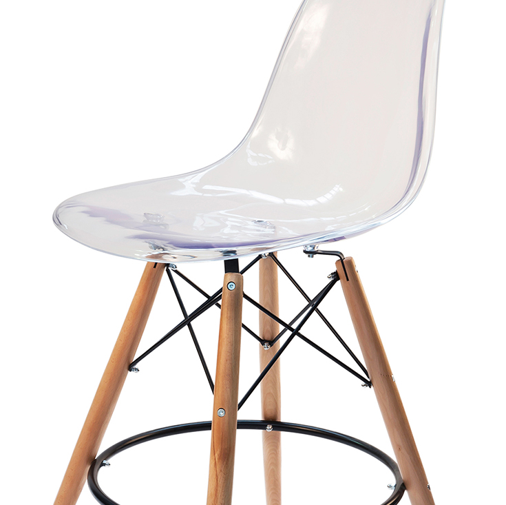 Replica Eames DSW Bar / Kitchen Stool   Clear Transparent   Natural Wood Legs