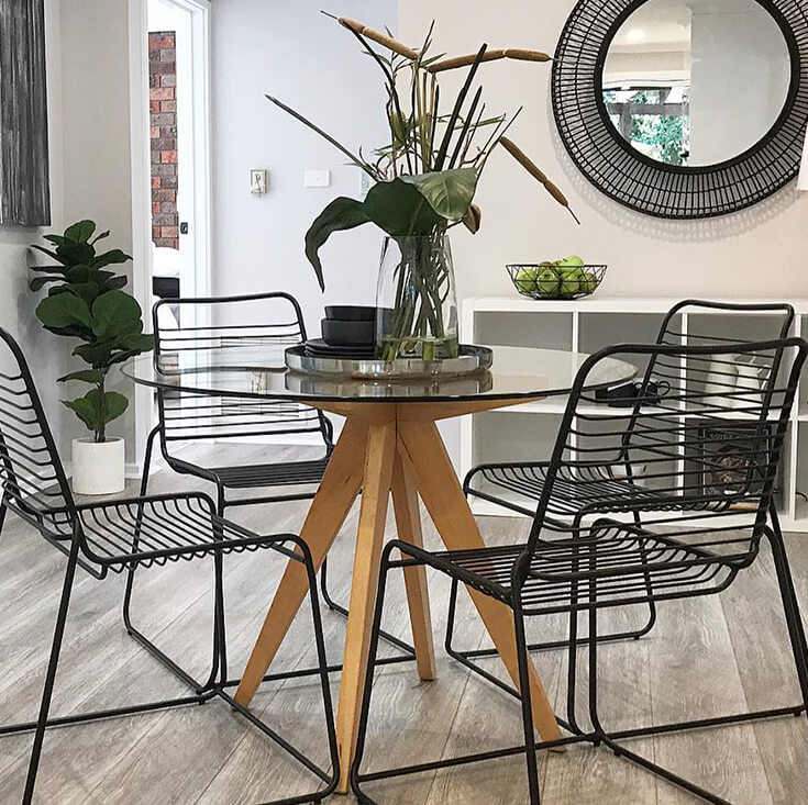 Replica Jean Prouve Inspired Round Dining Table | Walnut Wood Legs | Glass | 100cm