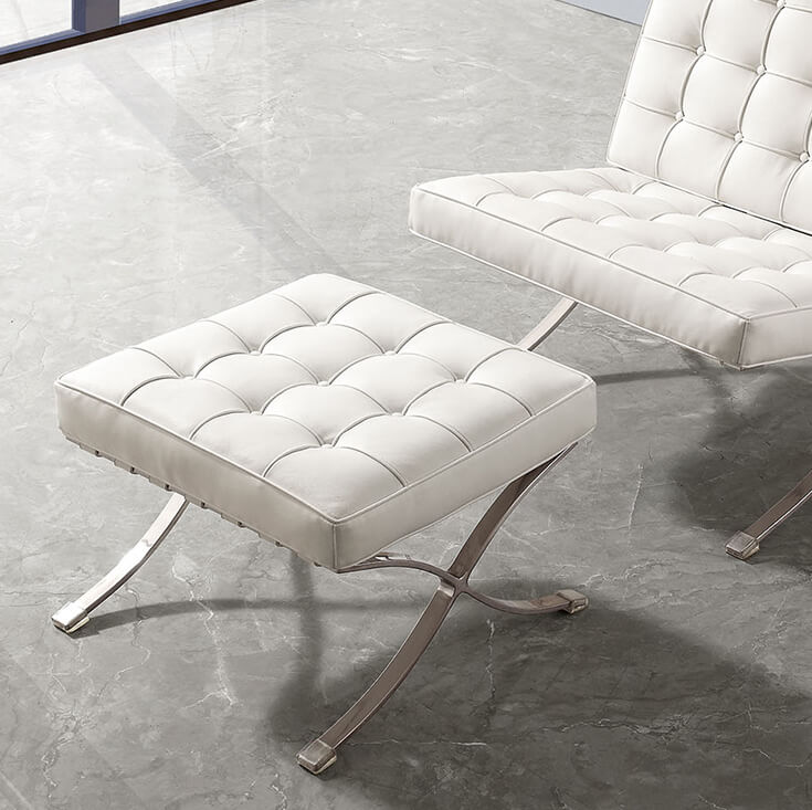 Replica Mies Van De Rohe Barcelona Ottoman | White