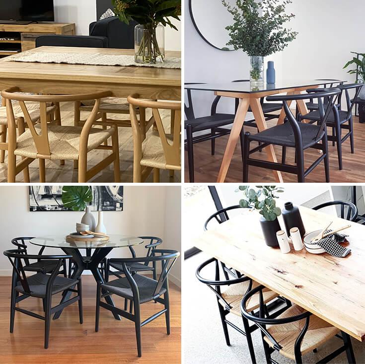 Replica Hans Wegner Wishbone Chair   Black Frame & Natural Seat
